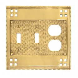Brass Accents M05-S5680 Arts & Crafts Triple, 2 Switch + 1 Outlet