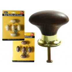 Value Brand 10861 5 Piece Wood Round Cabinet Knobs w/ Brass Base