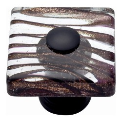 "Atlas 3205-O Milkyway Glass Square Knob, Size- 1-1/2"", Finish- Aged Bronze"