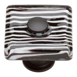 "Atlas 3223-BL Zebra Glass Square Knob, Size- 1-1/2"", Finish- Matte Black"