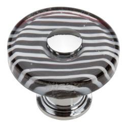 """Atlas 3224-CH Zebra Glass Round Knob, Size- 1-1/2"""", Finish- Polished Chrome"""