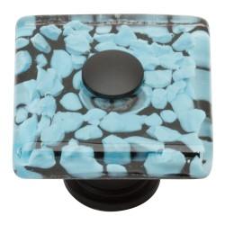 """Atlas 3225-BL Marine Glass Square Knob, Size- 1-1/2"""", Finish- Matte Black"""
