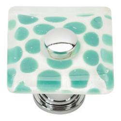 "Atlas 3228-CH Emerald Polka Dot Glass Knob, Size- 1-1/2"", Finish- Polished Chrome"