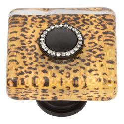 "Atlas 3232-BL Cheetah Glass Square Knob, Size- 1-1/2"", Finish- Matte Black"