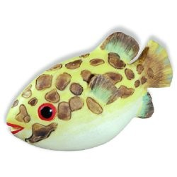 SIRO-H027-67 Caribe Yellow & Brown Speckle Fish KNOB