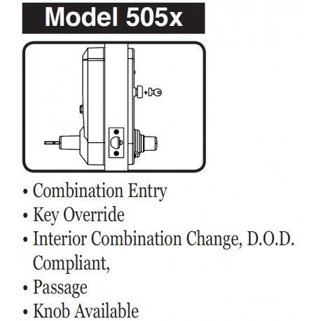 Kaba 5051XSWL26D Cipher Mechanical Push Button Door Lock with Lever