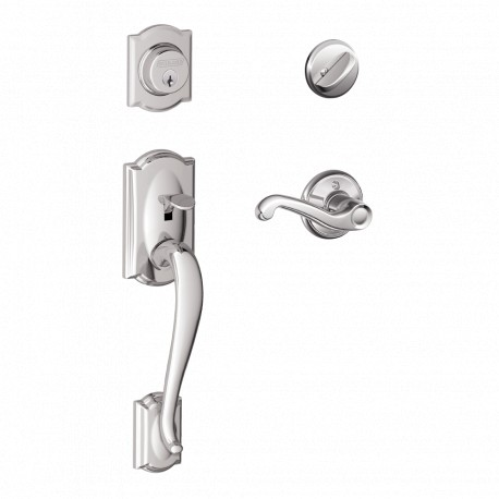 Schlage F62-CAM-FLA-LH Camelot Left Hand Double Cylinder Handleset with Flair In Antique Pewter Schlage Residential