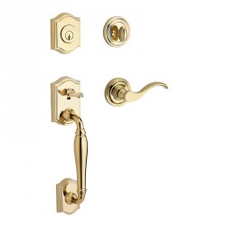 Baldwin Reserve Westcliff Handleset - Curve Lever, Traditional Round Rose