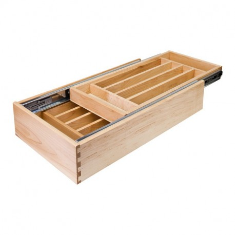 """Hardware Resources 18"""" Double Cutlery Drawer with Push-to-Open inner slide 14-1/2"""" W x 21""""D x 4-3/16""""H"""