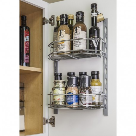 """Hardware Resources 6"""" Deep Door Mounted Tray System Kit in Polished Chrome"""