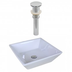 American Imaginations AI-14876 Square Vessel Set In White Color And Drain