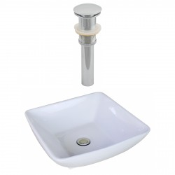American Imaginations AI-14879 Square Vessel Set In White Color And Drain