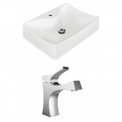 American Imaginations AI-15257 Rectangle Vessel Set In White Color With Single Hole CUPC Faucet