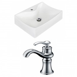 American Imaginations AI-15258 Rectangle Vessel Set In White Color With Single Hole CUPC Faucet