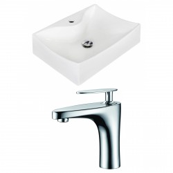 American Imaginations AI-15266 Rectangle Vessel Set In White Color With Single Hole CUPC Faucet
