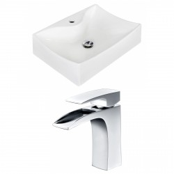 American Imaginations AI-15268 Rectangle Vessel Set In White Color With Single Hole CUPC Faucet