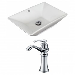 American Imaginations AI-15271 Rectangle Vessel Set In White Color With Deck Mount CUPC Faucet