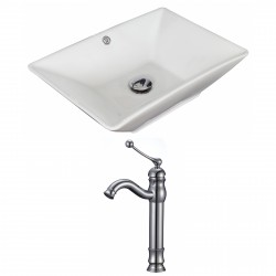 American Imaginations AI-15273 Rectangle Vessel Set In White Color With Deck Mount CUPC Faucet