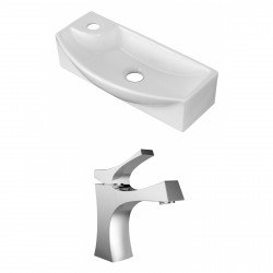 American Imaginations AI-15274 Rectangle Vessel Set In White Color With Single Hole CUPC Faucet