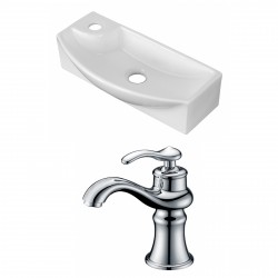 American Imaginations AI-15275 Rectangle Vessel Set In White Color With Single Hole CUPC Faucet