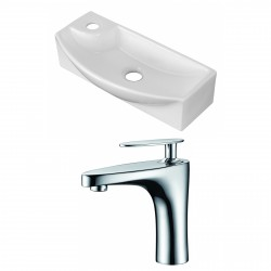 American Imaginations AI-15276 Rectangle Vessel Set In White Color With Single Hole CUPC Faucet