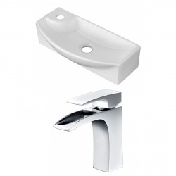 American Imaginations AI-15278 Rectangle Vessel Set In White Color With Single Hole CUPC Faucet