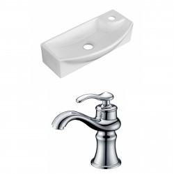 American Imaginations AI-15282 Rectangle Vessel Set In White Color With Single Hole CUPC Faucet
