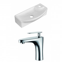 American Imaginations AI-15283 Rectangle Vessel Set In White Color With Single Hole CUPC Faucet
