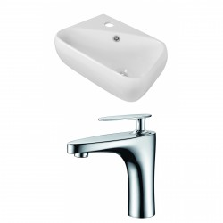 American Imaginations AI-15297 Rectangle Vessel Set In White Color With Single Hole CUPC Faucet