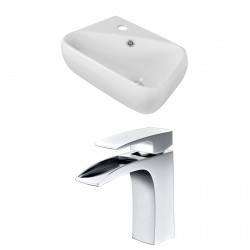 American Imaginations AI-15299 Rectangle Vessel Set In White Color With Single Hole CUPC Faucet