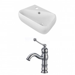 American Imaginations AI-15301 Rectangle Vessel Set In White Color With Single Hole CUPC Faucet