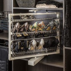 "Hardware Resources 72"" wire rotating shoe rack with 12 shelves"
