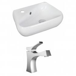 American Imaginations AI-15316 Unique Vessel Set In White Color With Single Hole CUPC Faucet