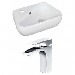 American Imaginations AI-15320 Unique Vessel Set In White Color With Single Hole CUPC Faucet