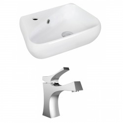 American Imaginations AI-15330 Unique Vessel Set In White Color With Single Hole CUPC Faucet