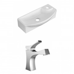 American Imaginations AI-15344 Rectangle Vessel Set In White Color With Single Hole CUPC Faucet