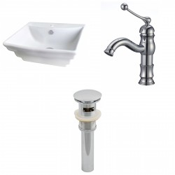 American Imaginations AI-15366 Rectangle Vessel Set In White Color With Single Hole CUPC Faucet And Drain