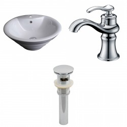 American Imaginations AI-15368 Round Vessel Set In White Color With Single Hole CUPC Faucet And Drain