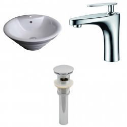 American Imaginations AI-15369 Round Vessel Set In White Color With Single Hole CUPC Faucet And Drain
