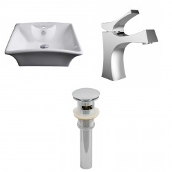 American Imaginations AI-15373 Rectangle Vessel Set In White Color With Single Hole CUPC Faucet And Drain