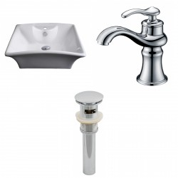 American Imaginations AI-15374 Rectangle Vessel Set In White Color With Single Hole CUPC Faucet And Drain