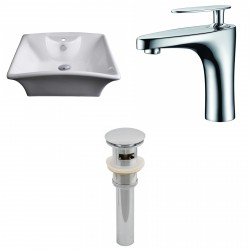 American Imaginations AI-15375 Rectangle Vessel Set In White Color With Single Hole CUPC Faucet And Drain