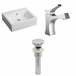 American Imaginations AI-15379 Rectangle Vessel Set In White Color With Single Hole CUPC Faucet And Drain