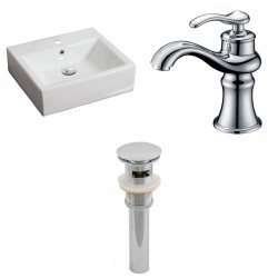American Imaginations AI-15380 Rectangle Vessel Set In White Color With Single Hole CUPC Faucet And Drain