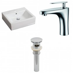 American Imaginations AI-15381 Rectangle Vessel Set In White Color With Single Hole CUPC Faucet And Drain