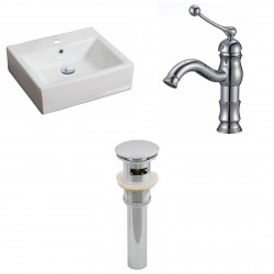 American Imaginations AI-15384 Rectangle Vessel Set In White Color With Single Hole CUPC Faucet And Drain