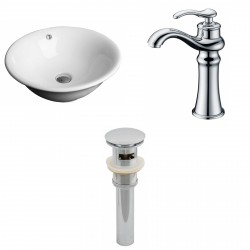 American Imaginations AI-15385 Round Vessel Set In White Color With Deck Mount CUPC Faucet And Drain