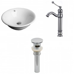 American Imaginations AI-15386 Round Vessel Set In White Color With Deck Mount CUPC Faucet And Drain