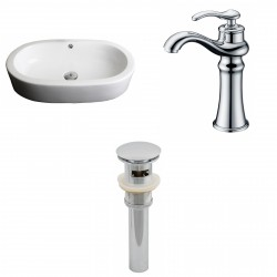 American Imaginations AI-15387 Oval Vessel Set In White Color With Deck Mount CUPC Faucet And Drain