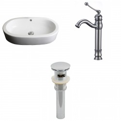 American Imaginations AI-15388 Oval Vessel Set In White Color With Deck Mount CUPC Faucet And Drain